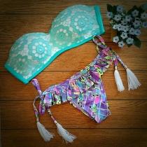 Sexy Lace Spliced Floral Print Bandeau Bikini Set