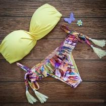 Sexy Floral Print Bandeau Bikini Set