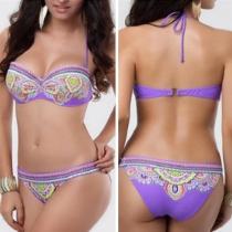 Ethnic Style Floral Print Bandeau Bikini Set