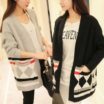 College Style Long Sleeve Knitted Cardigan