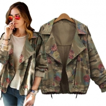 Fashion Rose Floral Print Camouflage Jacket