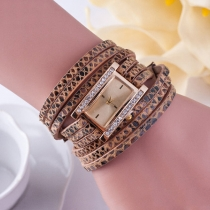 Fashion Leopard PU Leather Watch Band Rhinestone Rectangle Dial Quartz Watches