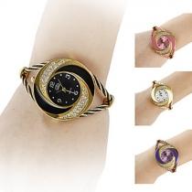 Fashion Steel Wire Watch Band Rhinestone Dial Quartz Watches