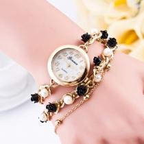 Fashion Women Pearl Flower Bracelet Watch