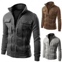 Fashion Casual Herren Biker-Jacke - aus Baumwolle