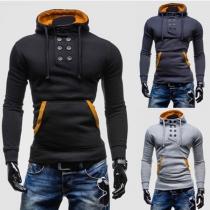 Stilvolle Herren Sweatshirt Hoodie mit Rollkragen und 2-Knopf-Verschluss