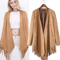 Fashion Solid Color Long Sleeve Irregular Hem Fringed Cardigan