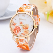 Fashion PU Leather Watch Band Round Dial Floral Print Watches