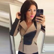 Fashion Contrast Color Long Sleeve Lapel Slim Fit Little Jacket