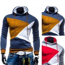 Fashion Contrast Color Long Sleeve Slim Fit Men's Hoodies