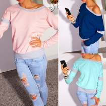 Sexy Oblique Shoulder Long Sleeve Contrast Color Sweatshirt