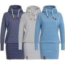 Fashion Sweatkleid mit Kapuze in reiner Farbe - Slim-Fit Design