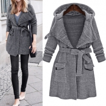 Retro Style Long Sleeve Hooded Knit Cardigan with Waist Strap