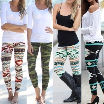 High Waist Stretch Leggings mit Ethno-Muster (oder Camouflage-Muster)
