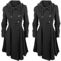Fashion Damen Trenchcoat mit Reverskragen mit Kordelzug und dem langen Einreiher