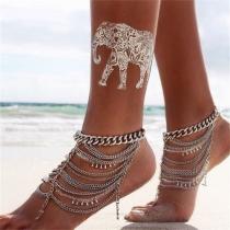 Retrostil Silberton Hand Perlen Mehrschichtige Fußkette Damenschmuck