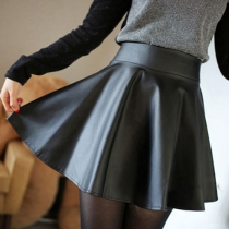 Fashion Solid Color High Waist PU Leather Umbrella Skirt