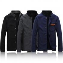 Stylische Herren Jacke mit Stehkragen und Knopfleiste