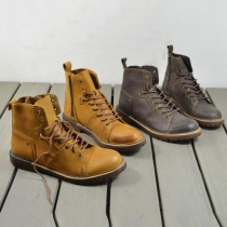 Retro Round Toe Lace-up Men's Motorcycle Boots