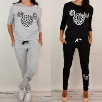 Fashion Damen Sportanzug Tracksuit Sweat + Pants - mit Mickey Maus Muster