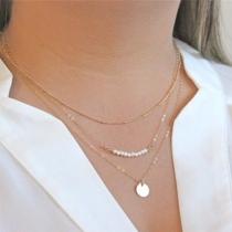 Mode Perlenanhänger Mehrschichtige Halskette Damenschmuck