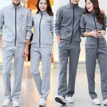 Fashion Solid Color Long Sleeve Stand Collar Couple Sports Suit