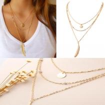 Fashion mehrschichtige Halskette Damenschmuck mit Blattanhänger
