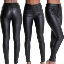 Stylische Slim-Fit High Waist 5-Pocket Lederhose mit Zierreißverschlüssen
