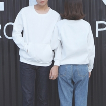 Fashion Solid Color Long Sleeve Round Neck Couple Sweatshirt