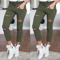Fashion Stretch Skinny Hose im Destroyed Look - Armeegrün / Schwarz