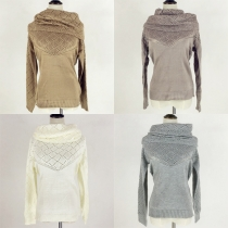 Fashion Solid Color Hollow Out Knit Sweater with Infinity Scarf