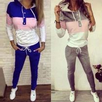 Fashion Casual Sportanzug Jogging-Suit in Kontrastfarbe, mit Kapuze