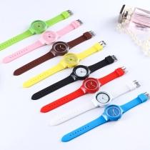 Mode Silikonarmband Armbanduhr Rundes Zifferblatt Gelee-Uhren