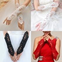 Mode Einfarbig Spitze Fingerlos Hochzeit Handschuhe