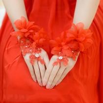Romantischer Stil 3D Blumen  Fingerlos Hochzeit Handschuhe