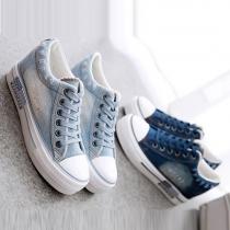 Fashion Sneaker aus Canvas in Denimoptik
