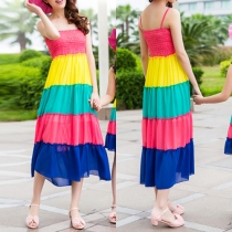 Sweet Contrast Color Striped Sleeveless Family Fitted Sling Dress