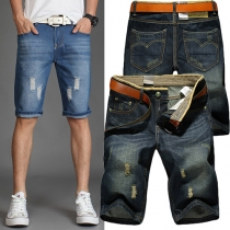 Fashion 2-side Pockets Shred Cropped Jeans For Men