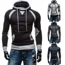 Fashion Herrenhoodie Sweatshirt mit Kapuze und Tube Collar in Wickeloptik