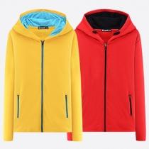Casual Contrast Color 2-side Zipper Long Sleeve Hooded Pockets Sweatshirt For Men