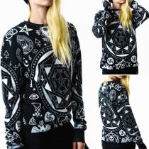 Casual Style Printed Round Neck Long Sleeve Couple Sweatshirts