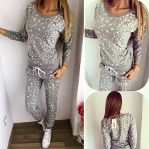 Fashion Pearl Printed Round Neck Long Sleeve Tops and Pants Two-piece Set