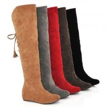 Stylische süße warme Stiefel Overknees mit Webpelzbesatz