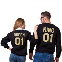 Casual Style Gold Letters Printed Round Neck Long Sleeve Couple Sweatshirts