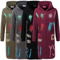 Trendy Bronzing 2 Side Pockets Front Zipper Long Sleeve Hooded Women's Sweatshirt