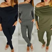 Sexy stylische Damen Jumpsuit mit Carmenausschnitt und Eingrifftaschen