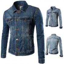 Fashion Lapel Long Sleeve Single-breasted Men's Denim Jacket