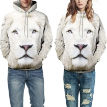Creative Style Lion Printed Long Sleeve Hooded Sweatshirt