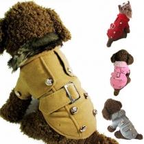 Süße Wintermantel Jacke mit Zweireiher-Knopf für Hunde