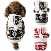 Süße Wintermantel Jacke für Hunde - mit Kapuze und Schneeflocke-Print